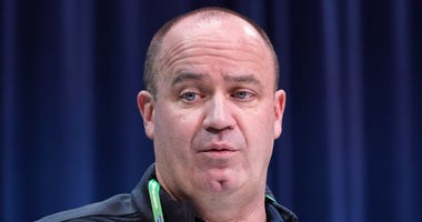 Houston Texans coach Bill O'Brien speaks during the NFL Scouting Combine at the Indiana Convention Center.