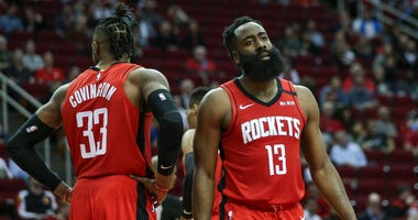 Houston Rockets guard James Harden (13) reacts after a play during the third quarter against the Los Angeles Clippers at Toyota Center.