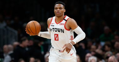 Houston Rockets guard Russell Westbrook (0) during the first quarter against the Boston Celtics at TD Garden.