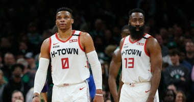 Houston Rockets guard Russell Westbrook (0) and guard James Harden (13) during the second half against the Boston Celtics at TD Garden.