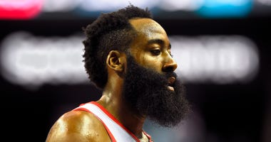 ouston Rockets guard James Harden (13) on the court in the first half at Spectrum Center.