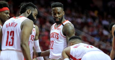 Houston Rockets forward Jeff Green (32) talks with teammates during the second quarter against the Orlando Magic at Toyota Center.