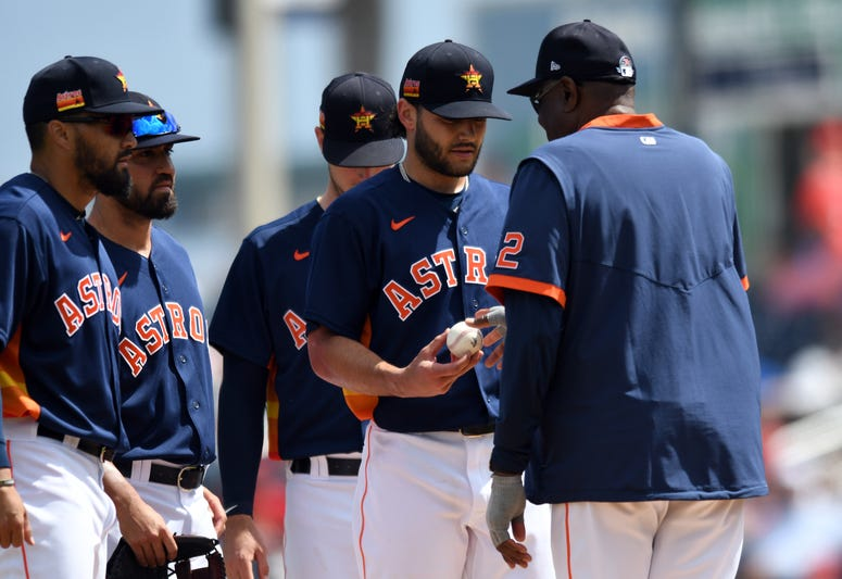 Houston Astros manager Dusty Baker (right) relieves pitcher Lance McCullers Jr. (43) in the third inning of a spring training game against the Washington Nationals at FITTEAM Ballpark of the Palm Beaches.