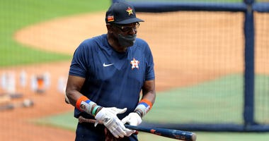 Houston Astros manager Dusty Baker (12) during Houston Astros team workouts at Minute Maid Park.