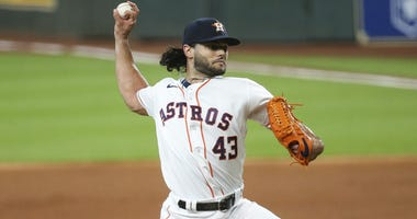 Houston Astros starting pitcher Lance McCullers Jr. (43) delivers a pitch during the first inning against the Seattle Mariners at Minute Maid Park.