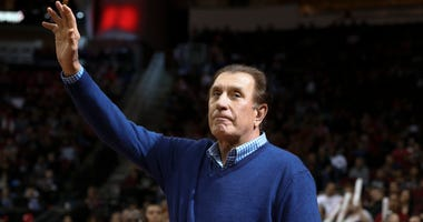 Former Houston Rockets player and head coach Rudy Tomjanovich waves to the crowd during the game against the New Orleans Pelicans at Toyota Center.