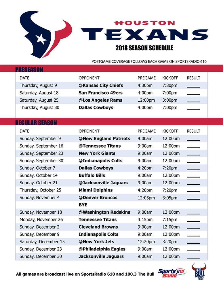 picture relating to Patriots Printable Schedule called Houston Texans 2018 Agenda Athletics Radio 610 AM