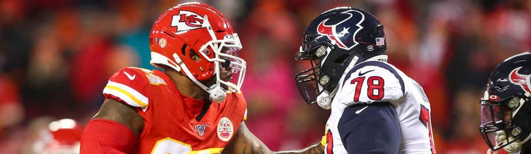 Houston Texans offensive tackle Laremy Tunsil (78) blocks Kansas City Chiefs defensive end Terrell Suggs (94) during the fourth quarter in a AFC Divisional Round playoff football game at Arrowhead Stadium.