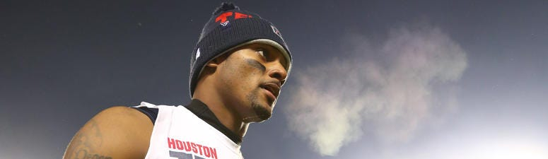 Houston Texans quarterback Deshaun Watson (4) reacts as he leaves the field following the game against the Kansas City Chiefs in the AFC Divisional Round playoff football game at Arrowhead Stadium.