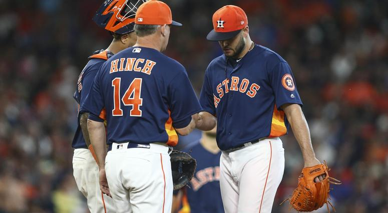 Lance McCullers Jr. exits vs. the Rangers