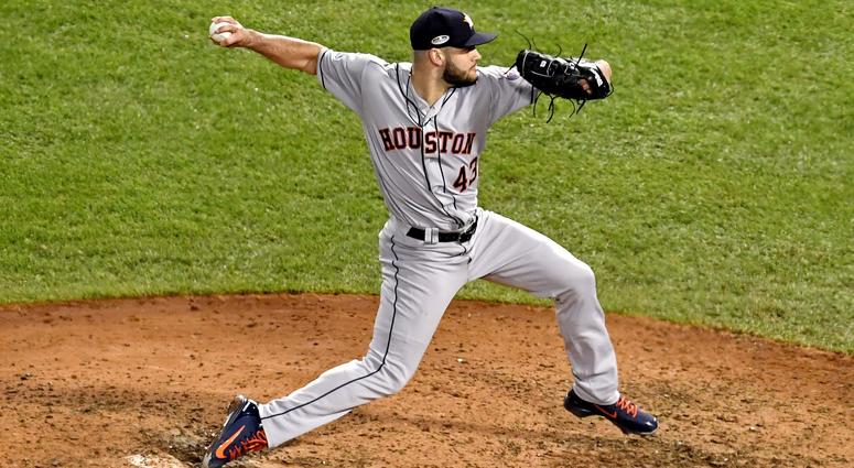 Houston Astros relief pitcher Lance McCullers (43) pitches during the eighth inning against the Boston Red Sox in game one of the 2018 ALCS playoff baseball series at Fenway Park.