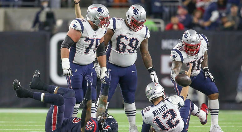 Dec 1, 2019; Houston, TX, USA; Houston Texans inside linebacker Benardrick McKinney (55) celebrates after a sack on New England Patriots quarterback Tom Brady (12) in the second quarter at NRG Stadium.