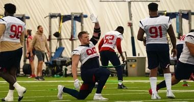 Texans defensive end J.J. Watt returns to practice after missing two months due to a torn pectoral.