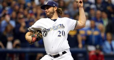 Wade Miley pitching in the NLCS