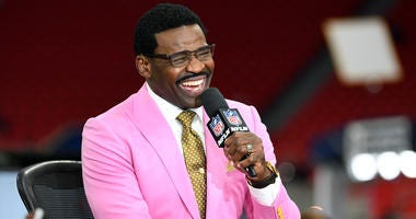 Michael Irvin at NFL Network laughs before Super Bowl LIII between the New England Patriots and the Los Angeles Rams at Mercedes-Benz Stadium.