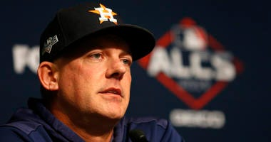 Houston Astros manager AJ Hinch answers questions from media during a press conference before game four of the 2019 ALCS playoff baseball series against the New York Yankees at Yankee Stadium.