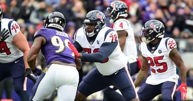 Houston Texans offensive tackle Laremy Tunsil (78) defends Baltimore Ravens linebacker Matthew Judon (99) at M&T Bank Stadium.