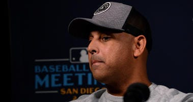 Boston Red Sox manager Alex Cora speaks to the media during the MLB Winter Meetings at Manchester Grand Hyatt.