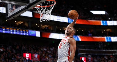 Houston Rockets guard Eric Gordon (10) misses a dun after the whistle against the Utah Jazz at Vivint Smart Home Arena.