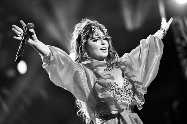 Shania thanks to Getty Images