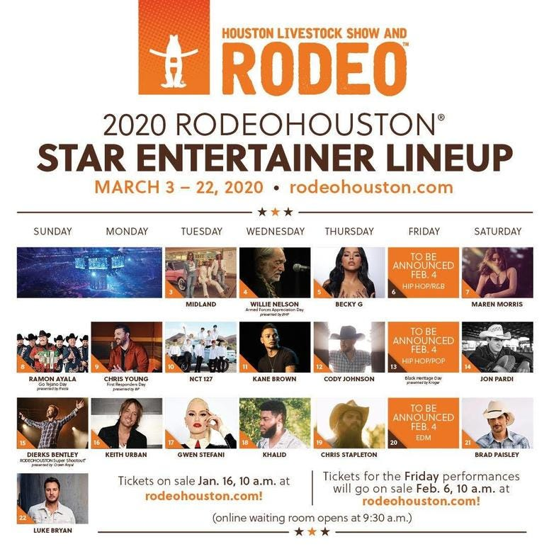 Rodeo Lineup