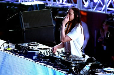 LOS ANGELES, CA - MARCH 18: DJ Steve Aoki performs onstage during AMPLIFY 2017 presented by 97.1 AMP Radio at The Shrine Expo Hall on March 18, 2017 in Los Angeles, California.