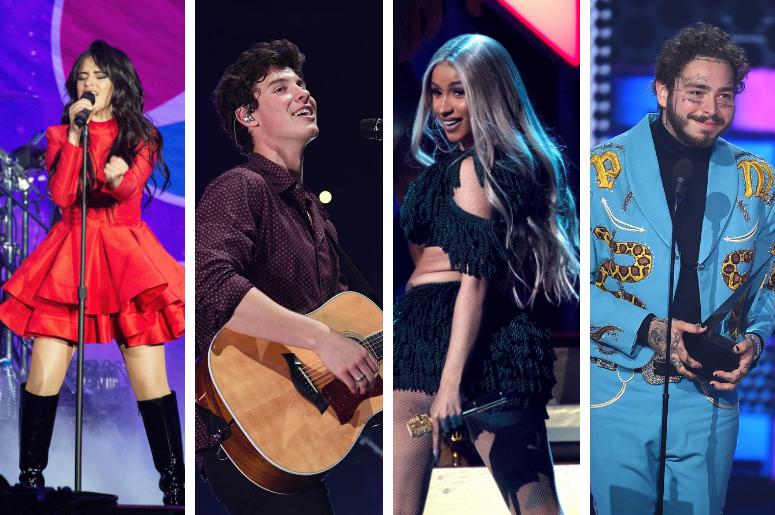 Camila Cabello, Shawn Mendes, Cardi B, Post Malone