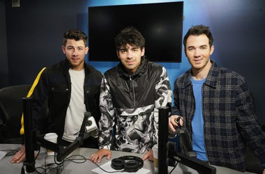 Nick Jonas, Joe Jonas and Kevin Jonas of The Jonas Brothers visit the SiriusXM studios on March 1, 2019 in New York City