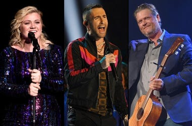 Kelly Clarkson, Adam Levine, and Blake Shelton from 'The Voice'