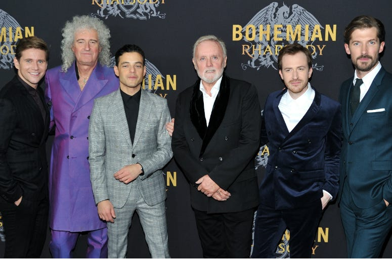 Actor Allen Leech, musician Brian may, actor Rami Malek, musican Roger Taylor and actors Joe Mazzello and Gwilym Lee attend the NY special screening of Bohemian Rhapsody