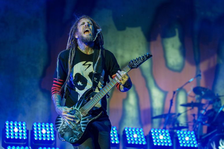 """Brian """"Head"""" Welch of Korn at Toyota Park during Open Air Chicago on July 16, 2016"""