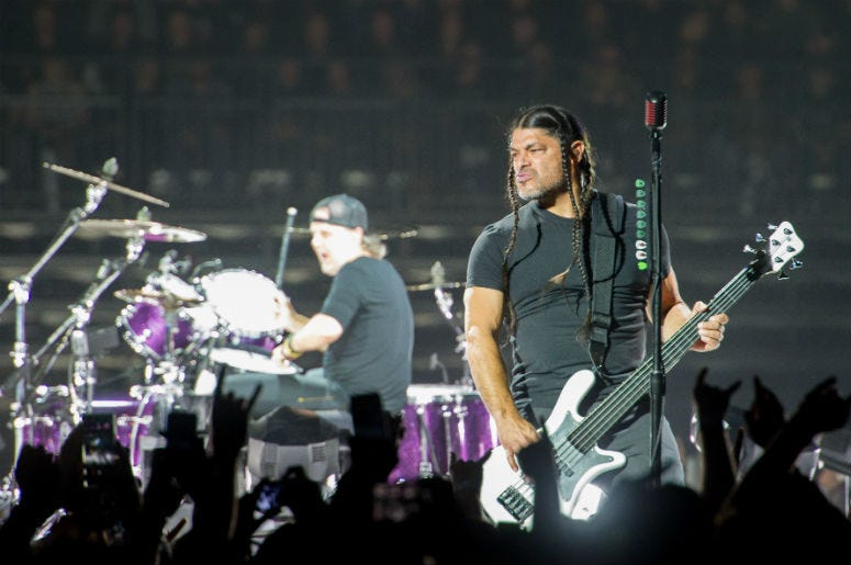 Lars Ulrich and Robert Trujillo of Metallica performing live on stage at Genting Arena in Birmingham, UK