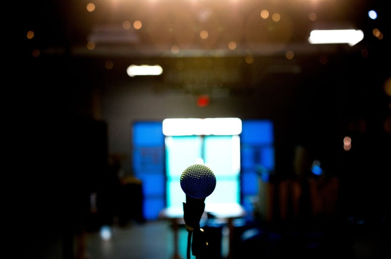 The microphone on stage at The Outpost on 109 W. Anderson Ave. in Knoxville, Tennessee on Friday, February 8, 2019. The venue will be hosting shows for Rhythm N' Blooms before the lease runs up and Abridged Brewing Company takes over the space. Kns Makerc