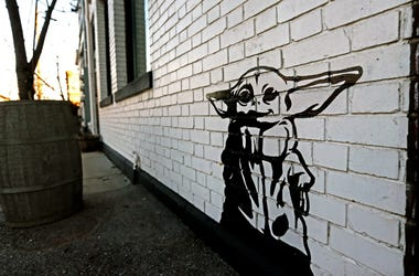 Artist Michael Cerda painted a baby Yoda onto Hotel Madrid in Walker's Point. Mjs Babyyoda00p1