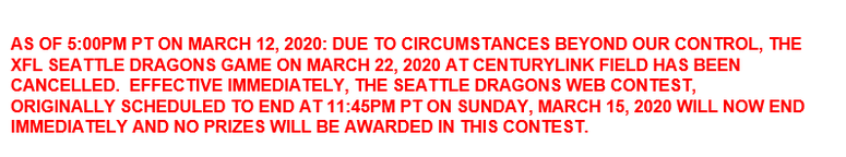 SEATTLE DRAGONS CANCELLED