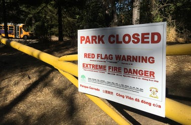 "Joaquin Miller Park in Oakland was shut on Sept. 24, 2019 due to fire danger, but Netflix continued recording a new episode of ""13 Reason Why"" despite the danger there.  (Photo credit: Matt Bigler/KCBS Radio)"