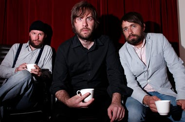 NEW YORK, NY - MAY 04: Musicians John Eriksson, Bjorn Yttling, and Peter Moren of Peter, John, and Bjorn pose for a portrait while attending Locked featuring Peter Bjorn and John presented by Columbia Records and DeLeon Tequila at Rose Bar at Gramercy Par