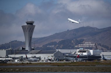 SAN FRANCISCO, CALIFORNIA - SEPTEMBER 09: A plane takes off from San Francisco International Airport on September 09, 2019 in San Francisco, California. Hundreds of departing and arriving flights at San Francisco International Airport have been cancelled