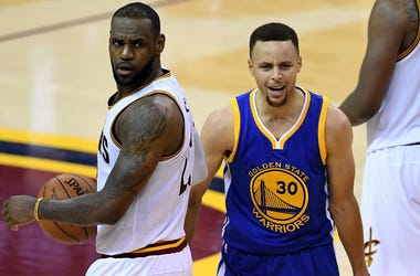 Cleveland Cavaliers' LeBron James and Golden State Warriors' Stephen Curry