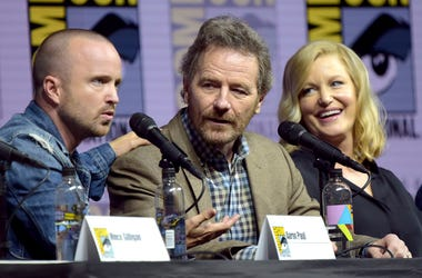 Aaron Paul, from left, Bryan Cranston and Anna Gunn