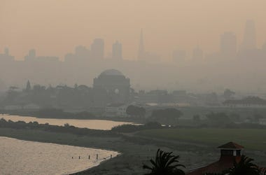 San Francisco city skyline are obscured due to smoke and haze from wildfires.