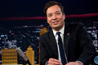 "In this Friday, Sept. 16, 2016, file photo, Jimmy Fallon talks during a taping of ""The Tonight Show with Jimmy Fallon,"" in New York. U.S. President Donald Trump is telling Fallon to ""be a man"" and stop ""whimpering"" about the personal anguish he felt over"