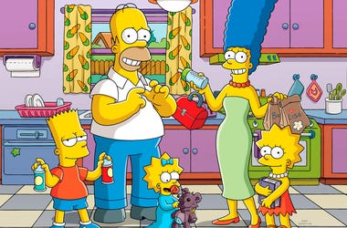 "This image released by Fox shows animated characters, from left, Bart, Homer, Maggie, Marge and Lisa from ""The Simpsons,"" which will premiere its 30th season this fall. (Fox via AP)"