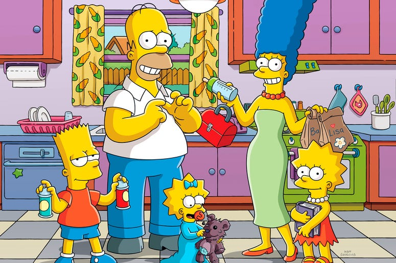"""This image released by Fox shows animated characters, from left, Bart, Homer, Maggie, Marge and Lisa from """"The Simpsons,"""" which will premiere its 30th season this fall. (Fox via AP)"""