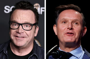 "In this combination of photos, Tom Arnold, left, attends a premiere on Oct. 10, 2017, in Los Angeles and Mark Burnett speaks during the National Prayer Breakfast on Feb. 2, 2017, in Washington. A scuffle between Arnold and Burnett a producer of ""The Appre"