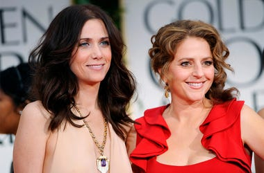 This Jan. 15, 2012 file photo shows Kristen Wiig, left, and Annie Mumolo at the 69th Annual Golden Globe Awards in Los Angeles. (AP Photo/Chris Pizzello, File)
