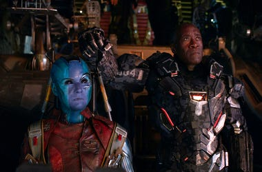 "This image released by Disney shows Karen Gillan, left, and Don Cheadle in a scene from ""Avengers: Endgame."" (Disney/Marvel Studios via AP)"