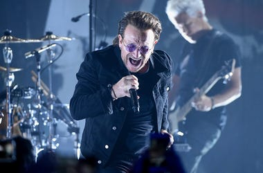 In this June 11, 2018 file photo, Bono of U2 performs during a concert at the Apollo Theater in New York. (Photo credit: Evan Agostini/Invision/AP, File)