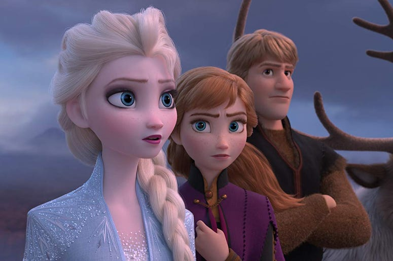 """Elsa, voiced by Idina Menzel, from left, Anna, voiced by Kristen Bell, Kristoff, voiced by Jonathan Groff and Sven in a scene from the animated film, """"Frozen 2."""""""