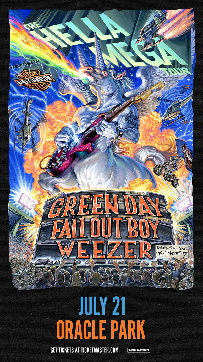 HELLA MEGA TOUR featuring Green Day, Weezer, and Fall Out Boy at Oracle Park in San Francisco, July 21, 2020